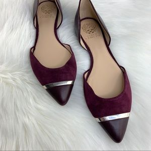 Vince Camuto Suede D'Orsay Flats in Plum